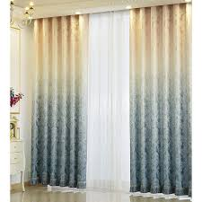 Blue And Beige Curtains Blue Polyester And Cotton Patterned Country Ombre Curtains For