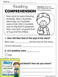 may printables first grade literacy and math reading
