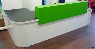 Rem Suflo Reception Desk Hi Line Orange White Corner Reception Desk Reception Area