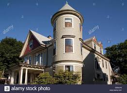 victorian house with cylinder turret jamaica plain boston stock