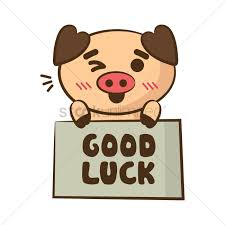 cartoon pig holding good luck board vector image 1955533