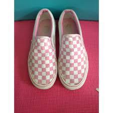 light pink checkered vans vans shoes pink white checkered poshmark