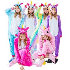 pajamas unicorn rainbow color flannel pyjamas