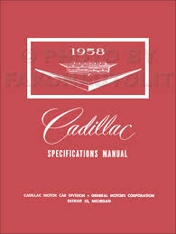 1958 cadillac data book original