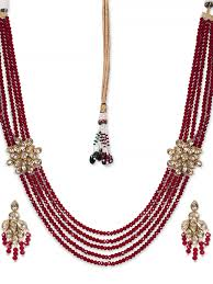 ruby beads necklace images Rubans gold toned kundan ruby beads haara necklace set JPG