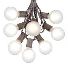 white satin g50 globe outdoor string light set on brown wire