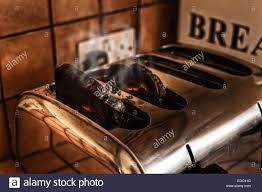 Burning Toaster Risk Of Fire Smoking Burning Toast Forgotten In The Toaster In