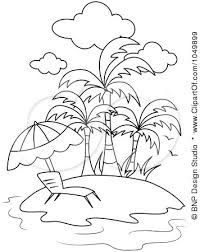 tropical beach coloring pages clipart outline