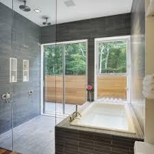 Bathroom Stunning Mirrored Tile Backsplash With White Bathtub - Bathtub backsplash