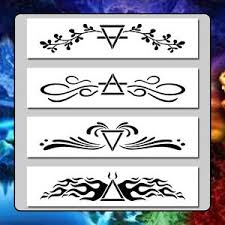 set of 4 four elements border design stencils earth air water