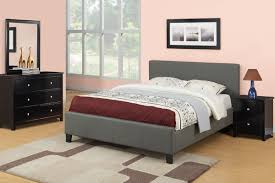 modern gray fabric upholstered low bed frame combined black wooden