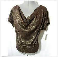 brown collection new york collection nyc metallic cowl sweater top ps brown leopard