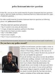 Police Promotion Resume Police Lieutenant Interview Questions Job Interview Interview