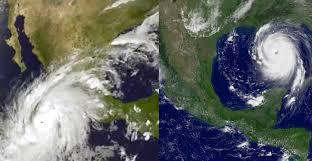 this photo shows how hurricane patricia compares to katrina time