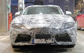 mazda germany new toyota supra spied up close while visiting a gas station in