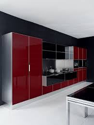 Red And White Kitchen by Red And Brown Kitchen Decor Built In Microwave Square Stainless