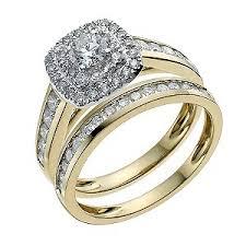 yellow gold bridal sets 18ct yellow gold one carat diamond halo bridal set product