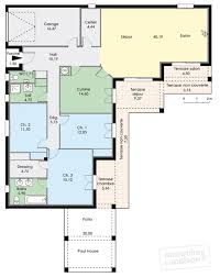plan maison 3 chambres plain pied garage maison plain pied 3 chambres en u avec plan maison en u plain pied