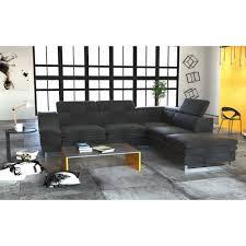 canapé d angle avec appui tête canapé d angle milin 5 places avec repose tête tissu gris achat