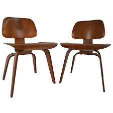Modern Wood Chair Furniture Early Pair Of Mid Century Modern Dcw Side Chairs By Ray And