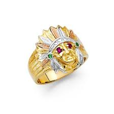 tricolor ring tricolor indian chief ring ejmr34315