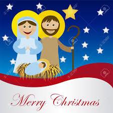 christmas nativity scene with holy family card isolated vector