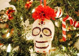peachy cheek decorating and sugar skull ornaments