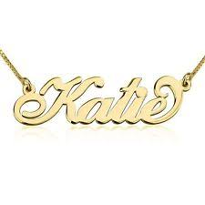 custom name necklace gold solid 14k gold carrie style name necklace ebay