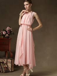 chiffon maxi dress pink chiffon maxi dress with pearl necklace abaday
