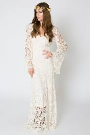 hippie wedding dresses vintage inspired bohemian wedding gown bell sleeve lace crochet