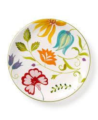 Dining Dish Set Clay Art Dinnerware Set Of 4 Floral Salad Plates Casual