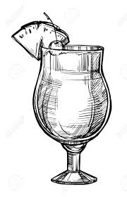 cocktail clipart black and white alcoholic cocktail hand drawn sketch vector illustration vintage