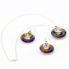 selina sterling silver murano glass circle set necklace and