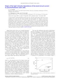 origin of the light intensity dependence of the short circuit