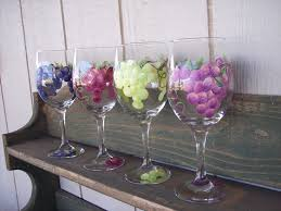 wine glass painting hand painted wine glasses with grape design set of 4 49 50 via