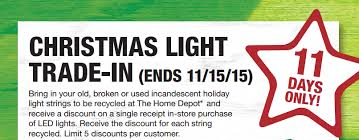 home depot trade in your old broken christmas lights to receive