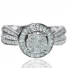 flat engagement rings ct real diamond engagement ring halo flat shank vintage 10k