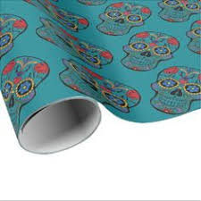 skull wrapping paper calavera sugar skull floral white blue wrapping paper