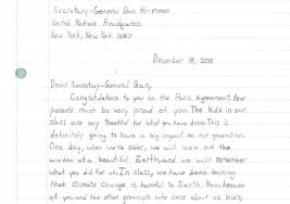 letters to ban ki moon fifth graders write about climate change