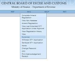 procedure for surrender of service tax registration
