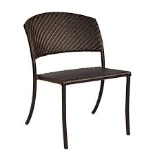 Stackable Outdoor Chair Black Polished Wrought Iron Outdoor Armchair With Brown Resin Seat