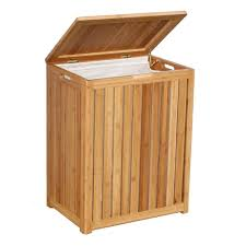 Wicker Clothes Hamper With Lid Oceanstar Spa Style Bamboo Laundry Hamper Brh1248 The Home Depot