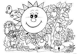 Coloriage Paysage Nature Printemps Enfants dessin