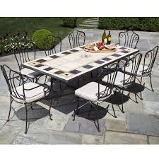 Mosaic Patio Furniture 9 Piece Carnival Marble Mosaic Outdoor Furniture Set From Alfresco