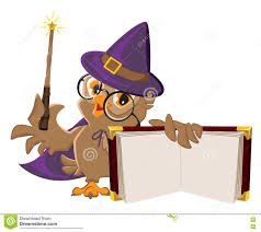 owl bird in halloween costume holding open book stock vector