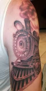 9 train tattoo on half sleeve