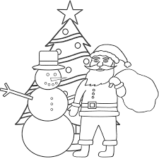 christmas coloring page snowman santa claus for kids coloring point