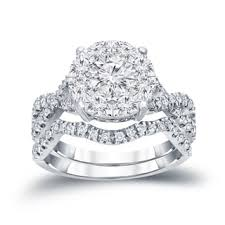 overstock wedding ring sets auriya 14k 1 1 5ct tdw cluster diamond braided bridal ring set