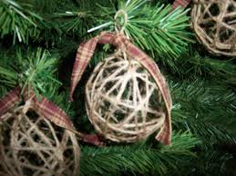 4 handmade jute christmas ornaments country rustic primitive