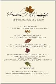 fall wedding menu cards autumn theme wedding menu cards fall